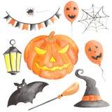 Waterverf voor Halloween met pompoen wordt geplaatst die stock illustratie