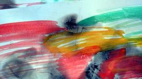 Waterverfachtergrond en gebrand document in rode groene tinten Stock Afbeelding