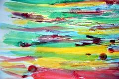Waterverfachtergrond en was in gele rode groene tinten Royalty-vrije Stock Afbeeldingen