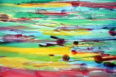 Waterverfachtergrond en was in rode groene tinten Stock Foto's