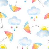 Waterverfachtergrond met paraplu's royalty-vrije illustratie