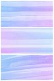 Waterverfachtergrond. Reeks van kleurrijke blauwe purpere Abstracte waterkleur Stock Afbeelding
