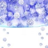Waterverfachtergrond van sering met witte sneeuwvlokken Stock Afbeeldingen