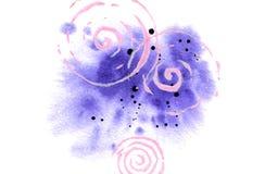 Waterverfachtergrond voor kaart, affiche, druk Abstracte violette die vlek met plonsen en spiralen op wit worden ge?soleerd vector illustratie