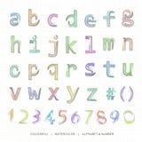 Waterverfalfabet en aantekening in kleine letters Royalty-vrije Illustratie