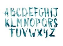 Waterverfaquarelle de doopvont typt de met de hand geschreven hand getrokken hoofdletters van het krabbel abc alfabet Stock Afbeeldingen