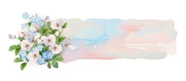 Waterverfbanner met Bloemen Royalty-vrije Stock Afbeeldingen