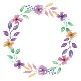 Waterverfbloem Hand Geschilderd Garland Floral Wreath Royalty-vrije Stock Afbeeldingen