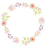 Waterverfbloem Hand Geschilderd Garland Pink Floral Wreath Stock Afbeelding