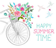 Waterverfbloemen en fiets Royalty-vrije Stock Foto's