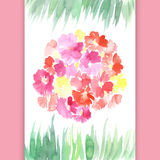 Waterverfbloemen en graskaart Stock Foto