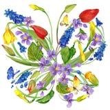 Waterverfbloemen en vlinderachtergrond vector illustratie