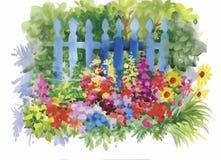 Waterverfbloemen in klassieke stijl op een witte achtergrond stock illustratie
