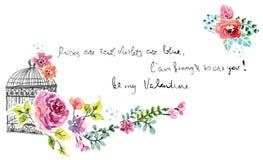 Waterverfbloemen met kooi stock illustratie