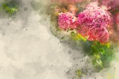 Waterverfbloemen op canvas royalty-vrije stock afbeeldingen