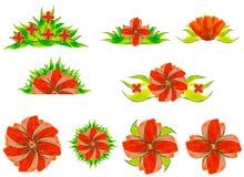 Waterverfbloemen in verschillende stijlen Royalty-vrije Stock Foto's