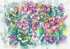 Waterverfbloemen in verschillende stijlen royalty-vrije illustratie