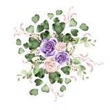 Waterverfboeket met rozenbloemen en eucalyptusbladeren royalty-vrije illustratie