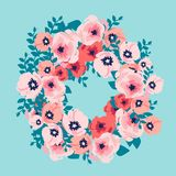 Waterverfboeket van bloemen De hand schilderde kleurrijke bloemendiesamenstelling op witte achtergrond wordt geïsoleerd royalty-vrije illustratie