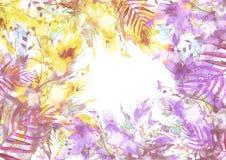 Waterverfboeket van bloemen, Orchideebloemen, papaver vector illustratie