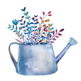 Waterverfboeketten van bloemen in pot rustic stock illustratie