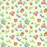 Waterverfbosbes, aardbei en frambozen naadloos patroon op groene achtergrond stock illustratie