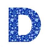 waterverfbrief D met een patroon van bloemen en bladeren royalty-vrije illustratie