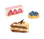 Waterverfcakes met vruchten Royalty-vrije Stock Foto's