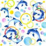 Waterverfdolfijnen het spelen Stock Afbeeldingen