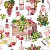Waterverfdoos met fles en druiven, wijnglazen, kaas en srtrawberries stock afbeeldingen