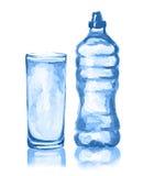 Waterverffles en glas royalty-vrije illustratie
