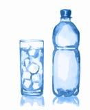 Waterverffles en glas stock illustratie