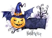 Waterverfgrens, pompoen in de hoed met knuppelvleugels Halloween-vakantieillustratie Grappig voedsel Magisch, symbool van Royalty-vrije Stock Afbeeldingen