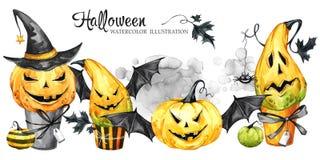 Waterverfgrens, reeks cakes met beeldverhaalpompoenen Halloween-vakantieillustratie Grappig Dessert Magisch, symbool van stock illustratie