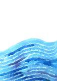 Waterverfhand geschilderde achtergrond met abstracte blauwe golven Royalty-vrije Stock Fotografie