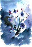 Waterverfhand geschilderde illustratie met de lentebloemen Royalty-vrije Stock Foto