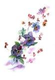Waterverfhand geschilderde illustratie met pansies Royalty-vrije Stock Afbeelding