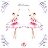 Waterverfhand geschilderde samenstellingen van ballerina's, pioenen, takjes vector illustratie
