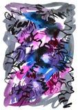Waterverfhand getrokken achtergrond in violette en zwarte kleuren uitstekende stijl Royalty-vrije Stock Afbeelding