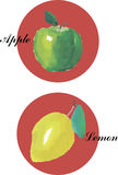Waterverfhand getrokken citroen Stock Foto