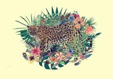 Waterverfhand getrokken illustratie met luipaard, bloemen, bladeren, veren stock illustratie