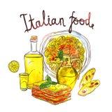 Waterverfhand Getrokken Illustratie van Italiaans Voedsel Stock Afbeeldingen