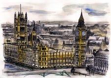 Waterverfhand getrokken kleurrijke illustratie van de stad van Londen Royalty-vrije Stock Fotografie