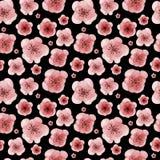 Waterverfhand getrokken naadloos patroon met bloemen Stock Fotografie