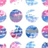 Waterverfhand getrokken naadloos patroon met cirkels Royalty-vrije Stock Foto
