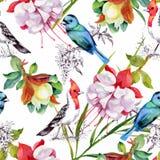 Waterverfhand getrokken naadloos patroon met mooie bloemen en kleurrijke vogels op witte achtergrond royalty-vrije illustratie