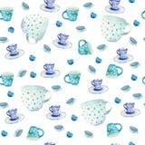 Waterverfhand getrokken naadloos patroon met verschillende kop en mok op de witte achtergrond royalty-vrije stock afbeeldingen