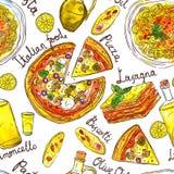 Waterverfhand Getrokken Naadloos Patroon van Italiaans Voedsel Stock Fotografie