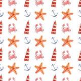Waterverfhand getrokken overzees zeevaart naadloos patroon Royalty-vrije Stock Afbeeldingen