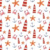 Waterverfhand getrokken overzees zeevaart naadloos patroon Stock Fotografie